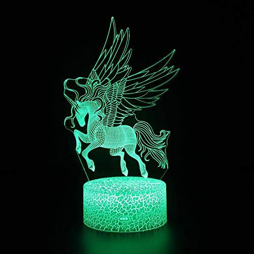 Lámpara de ilusión 3D – Anime Unicornio LED de control de luz nocturna de 16 colores para niños juguetes de estudio y decoración del hogar lámpara de sueño con control remoto