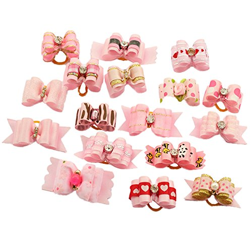 PET SHOW Mixed Styles Pet Cat Puppy Topknot Small Dog Hair Bows with Rubber Bands Grooming...