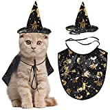 Legendog Cat Halloween Costume,1 Pcs Pet Cape/Cat cloak with Witch Hat/Pet Cloak Costume for Cats and Small...