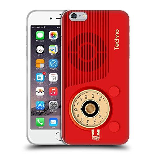 Head Case Designs Techno Radio Telefono Vintage Cover in Morbido Gel e Sfondo di Design Abbinato Compatibile con Apple iPhone 6 Plus/iPhone 6s Plus