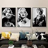 JRLDMD Marilyn MonroeLienzo Cuadro Cuadros e Impresiones fotográficas en Blanco y Negro Cuadro de Arte Mural Vintage para Sala de Estar decoración del hogar 40x60cmx3 sin Marco
