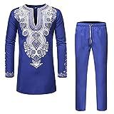 Janjunsi Men African Dashiki Bronzing Shirts Trousers Muslim Kaftan Thobe T-Shirt Pants Suits Blue