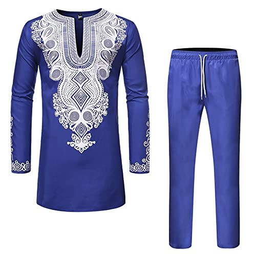 Ansemen Hommes Style Africain Imprimé Dashiki Chemises Pantalons Décontractés - Robe Musulmane Pantalon Vêtements Ethniques Marocains Ensemble 2 Pièces
