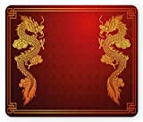 Ambesonne Dragon Mouse Pad, Chinese Heritage Historical Eastern Motif with Creature Design, Rectangle Non-Slip Rubber Mousepad, Standard Size, Orange Yellow