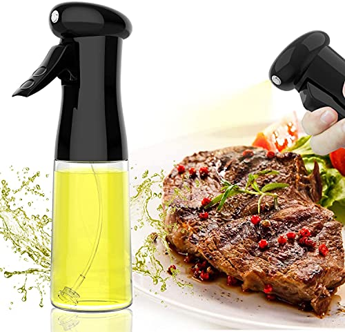 Oil Sprayer for Cooking, Olive Oil Sprayer with High-Pressure Nozzle, Food-Grade Materials, 210ml Professional Oil Sprayer for Baking , Air Fryer, BBQ, Salad, Roasting, Fried Steak. (Black)