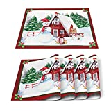 Home L6 Placemats for Dining Table Set of 6, Cute Snowman Rustic Red Wood Cabin Christmas Themed Table Mats Stain Resistant Heat Insulation Non-Slip Washable Table Decoration for Kitchen