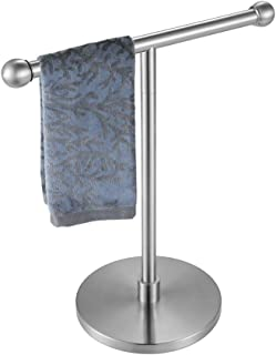 JQK Hand Towel Holder Stand, Modern Tree Rack Free Standing for Countertop with 12 Inch Bar, 304 Stainless Steel Brushed F...