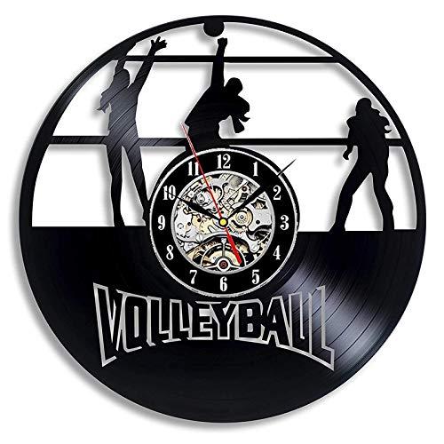LKJHGU Reloj de Pared con Disco de Vinilo Retro, diseño Moderno, Voleibol, Reloj de Pared Decorativo en 3D, Reloj de Pared, decoración del hogar