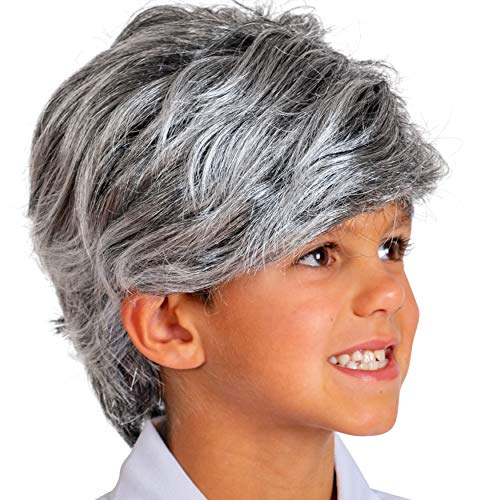 Skeleteen Grey Old Man Wig - Salt and Pepper Hair Old Person Grandpa Wigs Costume Accessories for Boys and Girls