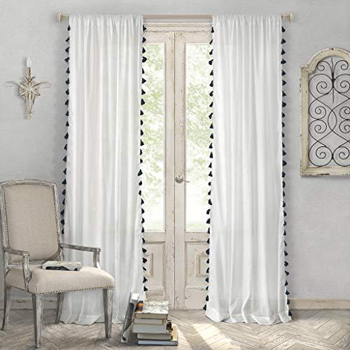 Elrene Home Fashions Bianca Semi-Sheer Window Curtain Panel with Tassels, 52' x 84' (1, Black