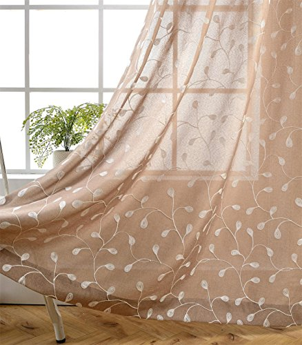 Miuco Floral Embroidery Semi Sheers Curtain Faux Linen Grommet Window Curtains for Office 52 x 95 Inch 2 Panels, Taupe