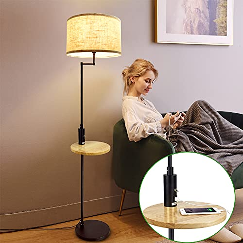 Depuley - Lámpara de pie LED con mesa de madera, 167 cm con puerto USB, lámpara de luz cálida E27, estilo clásico y moderno, bombilla de 9 W incluida