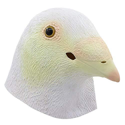 MU Maskerade Papagei Kopf Maske, Latex Tierkopf Maske, Halloween Requisiten Cosplay Kostüme Dekoration niedlichen Vogel Maske,Weiß