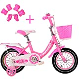 Bospyaf Bicicleta para Niños, Bicicleta para Niñas De 2 A 8 Años, Freno Sensible, Altura Ajustable, Bicicleta para Niños De 12/14/16/18 Pulgadas,Negro,14 Inches