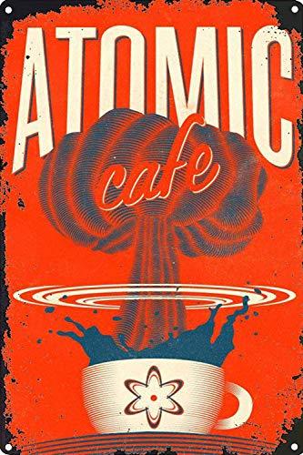 No dream Atomic Cafe Cartel de Pared de Pintura de Hierro Cartel de Banda Vintage de Metal Carteles de Chapa Placa de Marcas Retro para jardín Oficina