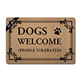 ZSL Funny Welcome Mats Anti-Slip Rubber Doormat Dogs Welcome People Tolerated with Personalized Design Entrance Indoor Doormat Kitchen mats and Rugs(23.6 X 15.7 in)