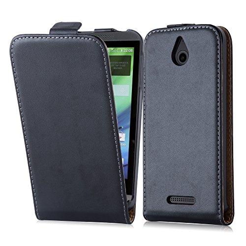 Cadorabo Hülle für HTC Desire 510 in KAVIAR SCHWARZ - Handyhülle im Flip Design aus glattem Kunstleder - Hülle Cover Schutzhülle Etui Tasche Book Klapp Style