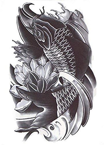 Zwart en wit tattoo tijdelijke sticker corpogotik oosterse gothic exotische tattoo sticker zwart en wit orient vel voor - man stickers