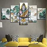 DBFHC Cuadros Modernos Impresión De Imagen Artística Digitalizada Señor Shiva Lienzo Decorativo para Salón O Dormitorio 5 Piezas XXL