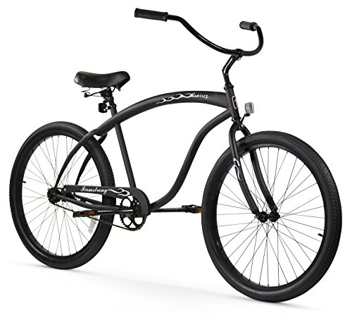 Firmstrong Bruiser Man Single Speed Beach Cruiser Bicycle, 26-Inch, Matte Black/Red Rims