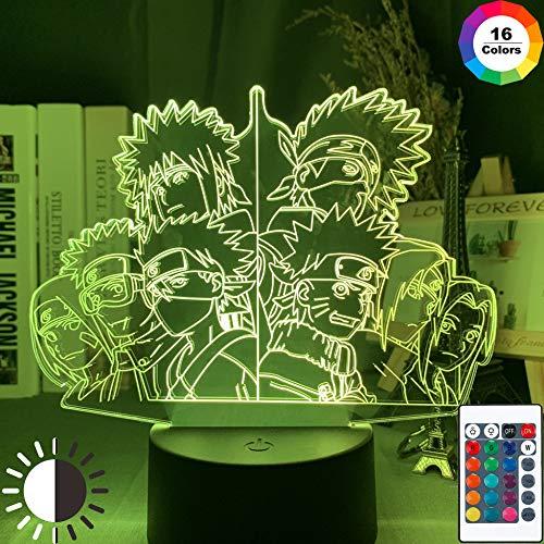 KangYD LED Nachtlicht Anime Naruto Team, 3D Illusionslampe, Tischlampe, E - Alarm Clock Base (7 Farbe), Moderne Lampe, Fashion Light, Liebhaber Geschenk, Visuelle Lampe