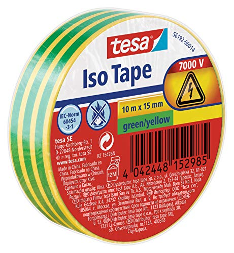 tesa 56192-00014-02 11622 Isolierband, Grün/Gelb, 10m x 15mm