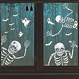 156 Pcs KUCHEY Halloween Decorations Window Clings Decor Indoor, Halloween Skeleton Decals Decoration, Reusable Double Side Halloween Window Stickers for Halloween Haunted House Party Decorations