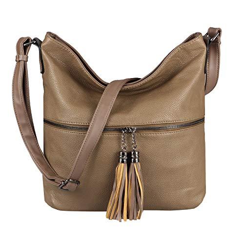 OBC Damen Tasche Shopper Schultertasche Umhängetasche City Crossover Crossbody Henkeltasche Bag Beuteltasche Kunst-Leder (Taupe)
