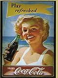 Francia Placa Metal 30X20cm Publicidad Retro Coca Cola Pin UP Play Refreshed