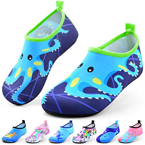 Sunnywoo Water Shoes for Kids Girls Boys,Toddler Kids Swim Water Shoes Quick Dry Non-Slip Water Skin Barefoot Sports Shoes Aqua Socks for Beach Outdoor Sports,5.5-6.5 Toddler,Blue Octopus