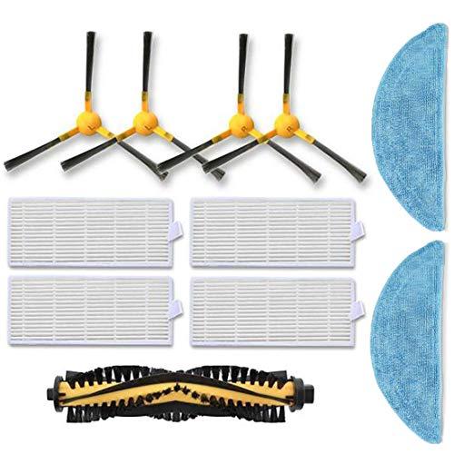 11-teiliges Ersatzteilset für Tesvor X500/X18-1, 4 Seitenbürsten, 1 Rollenbürste, 4 Filter, 2 Mopes, Zubehör/Ersatzteile für Tesvor X500