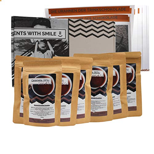 Trinkschokolade Geschenkbox Schokolade zum Trinken I Trinkschokolade Probierpacket für Schokoliebhaber I leckere Portionsbeutel I Trinkschokolade zum auflösen