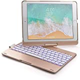 2019 New 10.5 inch Keyboard Case,Jennyfly Auto Sleep-Wake ABS 360 Rotate 7 Color Backlit Bluetooth Keyboard with Pen Holder Strap Smart Wireless Keyboard Case for 2019 iPad Air 3 10.5 inch - Gold