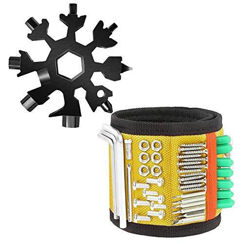 NXM Geschenke Werkzeug Armband Für Männer Magnetisches Armband, Magnetarmband Handwerker Mit Leistungsstarken Magneten, Geschenke Vatertagsgeschenk Magnetisches Armband,Gelb