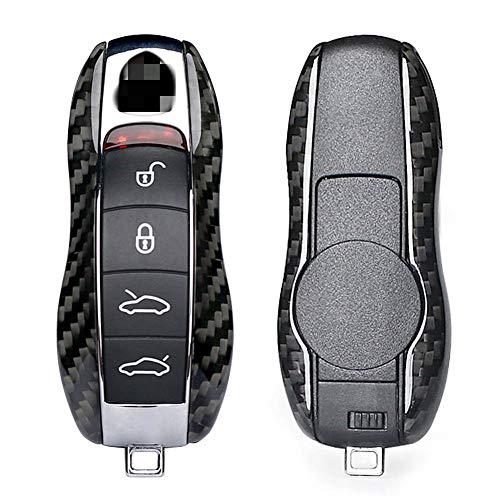 HEZHOUJI Cubierta de la Carcasa del Estuche de la Llave remota del Coche para Porsche 911 Cayenne Panamera Fibra de Carbono, Negro