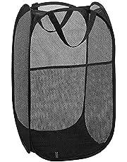 Gobesty Pop-up tvättkorg, 36 x 36 x 60 cm vikbar pop up mesh tvätt tvättkorg väska för kläder leksak snygg förvaring, svart