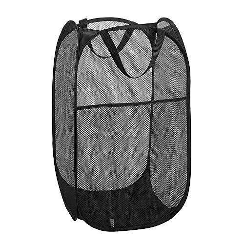 Gobesty Cesto de Ropa emergente, 36x36x60cm Bolsa de cesto de Ropa Plegable Lavable de Malla emergente para Ropa Juguete Almacenamiento ordenado, Negro