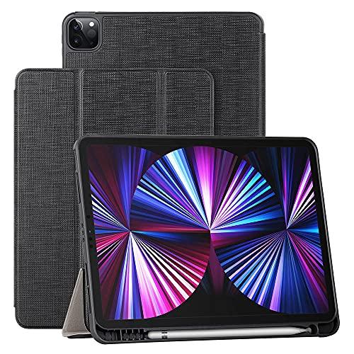 Foluu - Carcasa para iPad Pro 12.9 2021 5th Generation, funda de protección fina y ligera con soporte de poliuretano, cierre magnético y anticaída, para iPad Pro 12.9 2021 (12.9, negro)