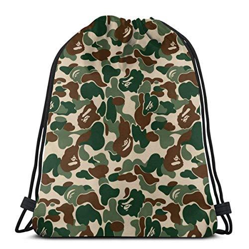 Kordelzug Rucksack Taschen & iexcl; & ecirc; Aniaml Bape Camouflage Grün Sport Gym String Storage Sackpack