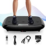 RINKMO Vibration Plate Exercise Machines with Resistance Bands, Whole Body Workout Vibrating Plateform with Bluetooth Speaker for Home Fitness Training Equipment and Weight Loss Black