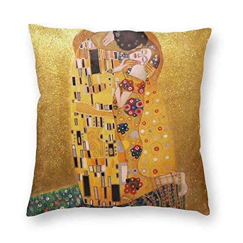 N\A Cuscino Il Bacio di Gustav Klimt, Fodera per Cuscino Decorativo per la casa Morbido Cuscino in Velluto per Divano/Divano/Camera da Letto/Soggiorno/Cucina/Cuscino Quadrato per Auto Case