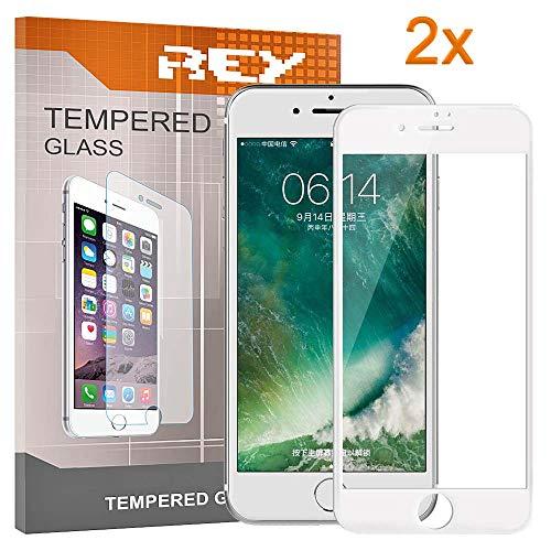 REY 2X Protector de Pantalla 3D para iPhone 7 - iPhone 8, Blanco, Protección Completa, 3D / 4D / 5D