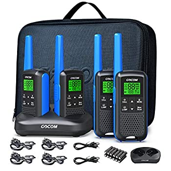 FRS Radios Walkie Talkies for Adults GOCOM G600 4 Pack Long Range Two Way Radio Rechargeable VOX Scan NOAA & Weather Alerts LED Lamplight Hand held radios  Suitcases