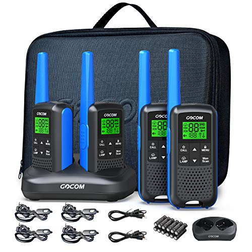 FRS Radios Walkie Talkies for Adults, GOCOM G600 4 Pack Long Range Two Way Radio Rechargeable, VOX Scan, NOAA & Weather Alerts, LED Lamplight Hand held radios (Suitcases)