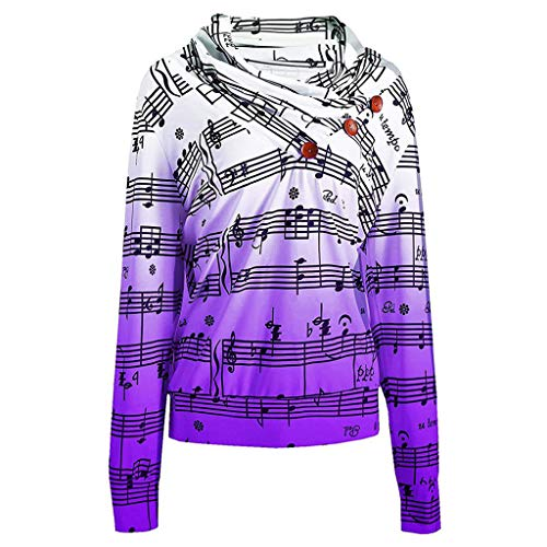 Womens Tunic Tops Sweatshirt FEDULK Music Note Print Button Long Sleeve Blouse Colorful Shirt Pullover(Purple, US Size M = Tag L)