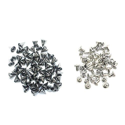Trimming Shop zilveren messing spike kegel studs met pinnen voor leer ambachten, decoratieve knop klinknagels voor naaien en kleding reparatie, Punk en Goth accessoire, 100 stuks