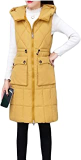 Women's Long Puffer Hooded Down Vest Zipper Thickened Sleeveless Outwear Jacket