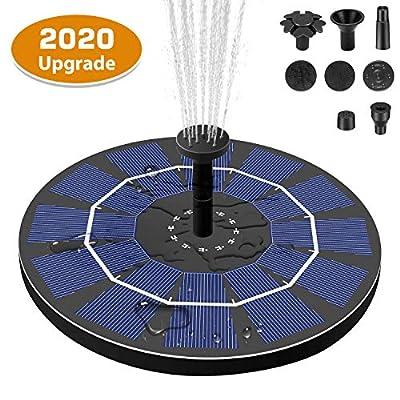 Kokofit Solar Fountain, Solar Pump 6 Nozzles Bird Bath with 800 mAh Battery Backyard Solar Fountain Pump for Outdoor Garden Pond Pool Aquarium