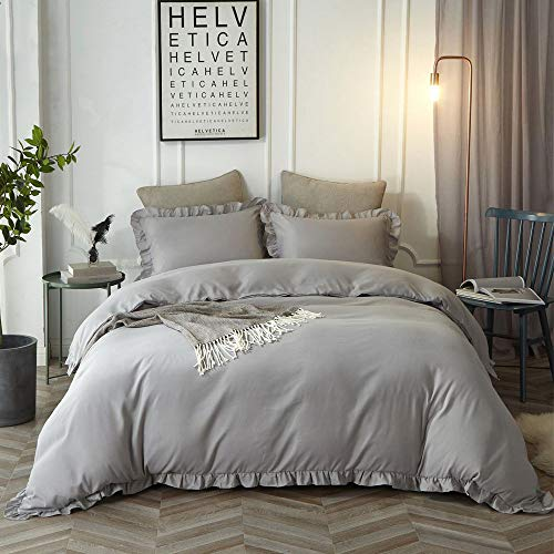 Lanqinglv Rüschen Grau Bettwäsche 200x200 3 Teilig Mädchen Mikrofaser Bettbezug Deckenbezug mit Reißverschluss mit 2 Kopfkissenbezüge 80x80
