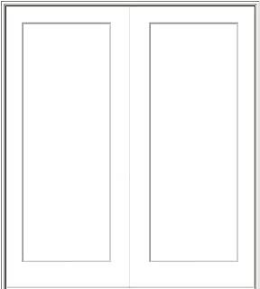 National Door Company ZZ364520A Solid Core, Molded, Craftsman 1-Panel Flat, Both Active, Prehung Interior Double Door, 36